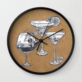 Vintage Cocktails on Kraft Wall Clock