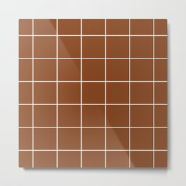White Grid - Brown BG Metal Print