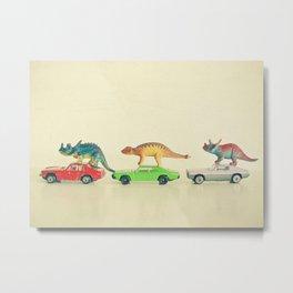 Dinosaurs Ride Cars Metal Print