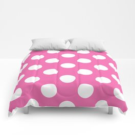 Geometric Candy Dot Circles - White on Strawberry Pink Comforters