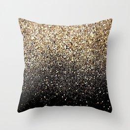 Black & Gold Sparkle Throw Pillow