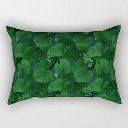 Monstera (Jungle) - Emerald x Teal Rectangular Pillow