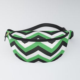 Green White and Black Chevrons Fanny Pack