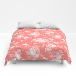Vintage elegant coral white bohemian floral Comforters