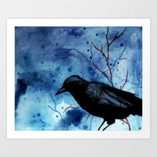 Crow Veins Watercolor/Pen & Ink Art Print