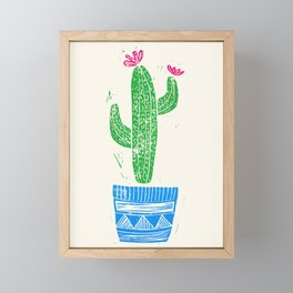 Linocut Cactus #2 in a pot Framed Mini Art Print