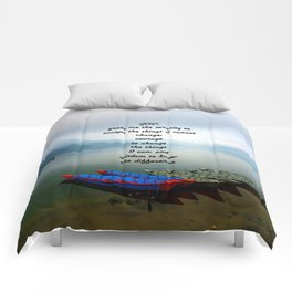 Serenity Prayer With Phewa Lake Panoramic View Comforters