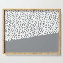 Gray Dalmatian Spots with Stripe (Pantone Ultimate Gray) Serving Tray