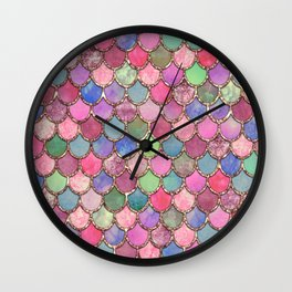 Colorful Pink Mermaid Scales Wall Clock