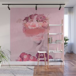 Woman in flowers Wall Mural