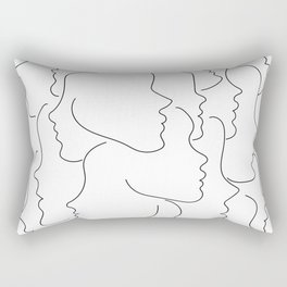 Face Your Truths - Multiple Black Simple Line Face Profiles Rectangular Pillow