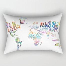 world map watercolor typography 1 Rectangular Pillow