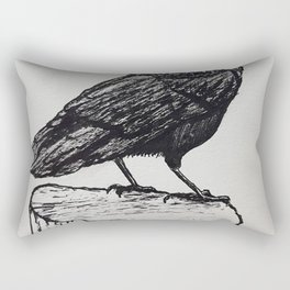 Observant Crow Rectangular Pillow