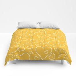 Mustard Yellow and White Hand Drawn Hearts Pattern Comforters