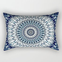 Indigo Navy White Mandala Design Rectangular Pillow