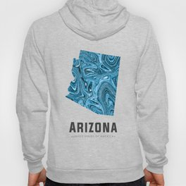 Arizona - State Map Art - Abstract Map - Blue Hoody