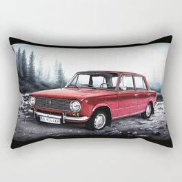 RUSSIAN LADA IN RED WITH SLOVAKIA TATRY MOUNTAINS IN THE BACKGROUND Rectangular Pillow
