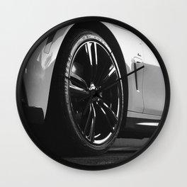 Black Rim Sports Car // White Paint Street Level B&W German Bavarian Motor Automobile Photograph Wall Clock