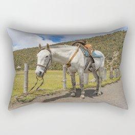 White Horse Tied Up at Cotopaxi National Park Ecuador Rectangular Pillow
