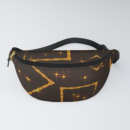 Golden rhombuses and squares in the intersection with the night stars on a brown background. Fanny Pack