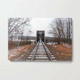 Snow Covered Train Trestle Metal Print