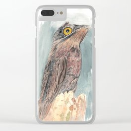 Watercolor Birds: Common Potoo Clear iPhone Case