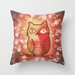 cat in owl 594 Throw Pillow