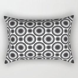 Circle Circle: Small: Black, White + Grey Rectangular Pillow