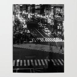 Shibuyacrossing at night - monochrome Poster