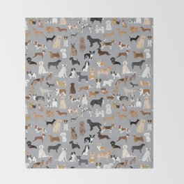 Mixed Dog lots of dogs dog lovers rescue dog art print pattern grey poodle shepherd akita corgi Throw Blanket
