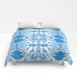 Blue and White Classy Psychedelic Comforters