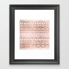 Modern rose gold leopard geometric aztec pattern Framed Art Print