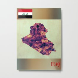 Iraq Map with Flag Metal Print