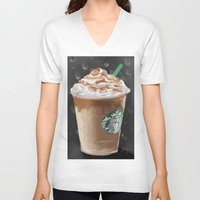 starbucks V-neck T-shirts featuring Starbucks by Amit Naftali