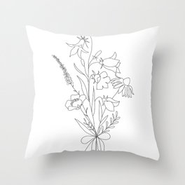 Small Wildflowers Minimalist Line Art Throw Pillow