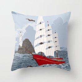 Red ship Throw Pillow