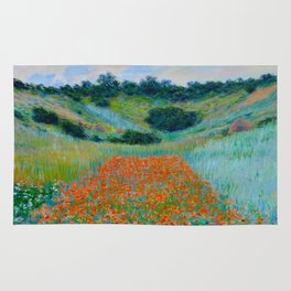 Claude Monet Impressionist Landscape Oil Painting Poppy Field in a Hollow near Giverny Rug