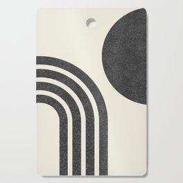 Mid century modern - Sun & Rainbow black Cutting Board