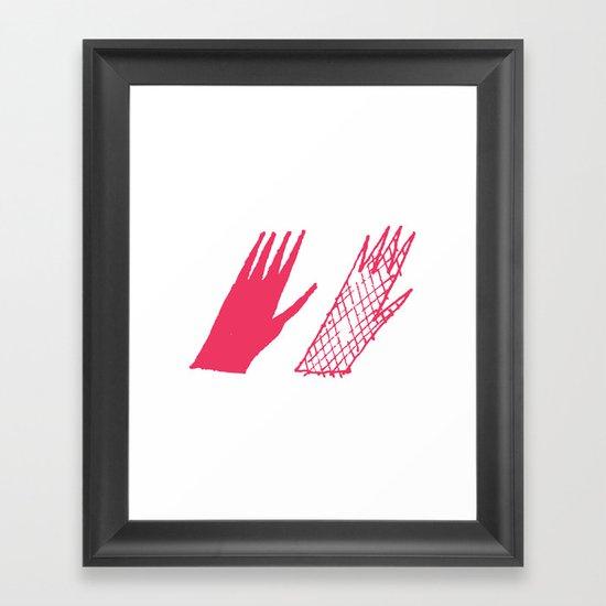 Hand and glove Framed Art Print