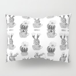 Potted Cactus Black and White Pillow Sham
