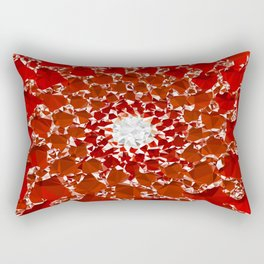 Red and White Spiral Fractal Art Low Poly Geometric Triangles Rectangular Pillow