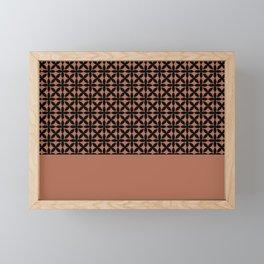 Black Square Scroll Petal Pattern on Sherwin Williams Cavern Clay SW7701 Framed Mini Art Print