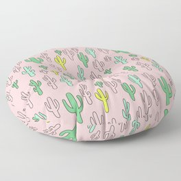 Green & Yellow Cactus on Pink Floor Pillow