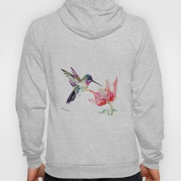 Little Hummingbird and Pink Flower, Bird art, minimalist bird painting, soft pink olive green design Hoody