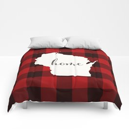 Wisconsin is Home - Buffalo Check Plaid Comforters