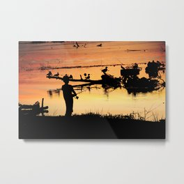 Little Boy Fishing Metal Print