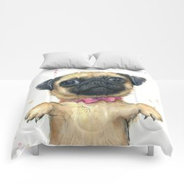 Cute Pug Puppy Dog Watercolor Painting Comforters