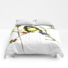 Spring nature colors,Bird art, great Tit, yellow spring bird Comforters