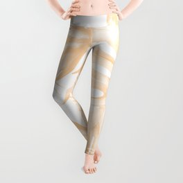 Island Vacation Hibiscus Palm Coral Leggings