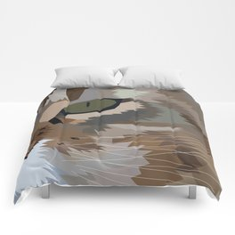Geometric Fierce Cat Digitally Created Comforters